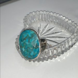 Stella & Dot large turquoise and silver ring